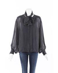 Chanel Sheer Polka Dot Pleated Blouse Black/white/floral Print Sz: Custom
