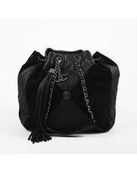"Chanel - Black Suede & Quilted Leather ""coco Bundle"" Shoulder Bag - Lyst"