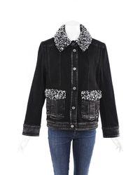 Chanel Denim Shearling Jacket Black/white Sz: L