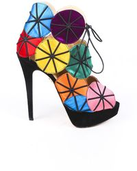 Charlotte Olympia Parasol Platform Sandals Black/multicolor Sz: 9.5