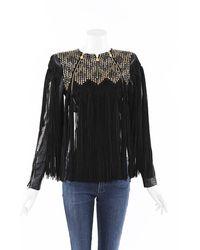 Hervé Léger Sola Studded Fringe Cropped Jacket Black Sz: Xs