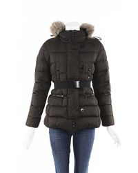 Moncler Genette Belted Puffer Coat Brown Sz: Xs