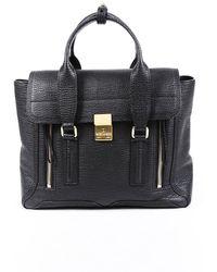 3.1 Phillip Lim Pashli Medium Leather Satchel Bag Black Sz: M