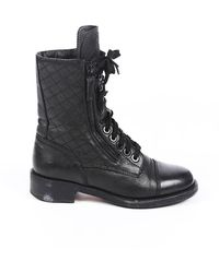 Chanel Quilted Leather Cc Combat Boots Black Sz: 4.5