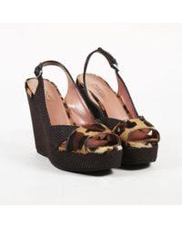Alaïa - Brown Leopard Print Pony Hair & Woven Raffia Wedge Sandals - Lyst