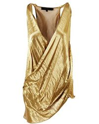 Urban Zen - Metallic Gold Silk Blend Draped & Pleated Top - Lyst