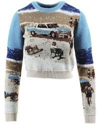 N°21 Multicolour Wool Blend Sequined Car Cropped Jumper - Blue