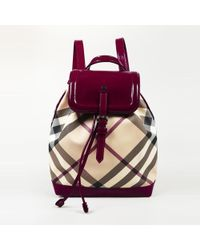 f9daa5e84d49 Burberry - Nova Check Coated Canvas Patent Leather Backpack - Lyst