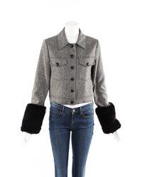 Veronica Beard Burke Black Herringbone Wool Faux Fur Cuff Jacket
