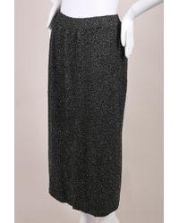 Donna Karan - Charcoal Grey Bugle Beaded Wool Blend Knit Midi Skirt - Lyst
