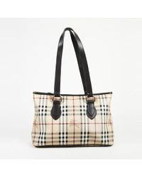 5268bab68a05 Lyst - Burberry Haymarket Check Coated Canvas And Leather Shoulder ...