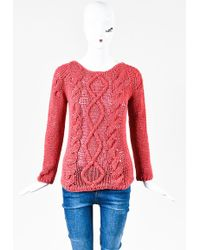 Brunello Cucinelli - Coral Cotton Linen Open Knit Ls Pullover Sweater - Lyst