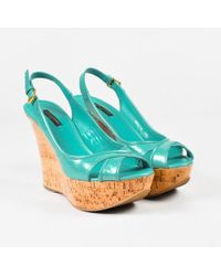 Louis Vuitton - Blue Vernis Leather Embossed Monogram Cork Wedge Sandals - Lyst