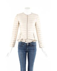 Moncler Morvan Cream Quilted Down Filled Flare Jacket - Natural