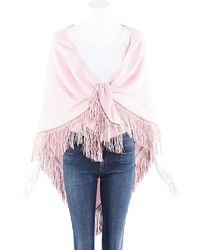 Bajra Pink Silk Leather Fringe Shawl