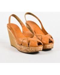 Jil Sander - Tan & Beige Leather Cork Wooden Wedge Slingback Sandals - Lyst