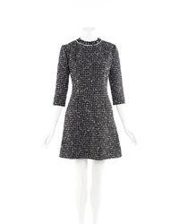 Dior Black Tweed A-line Dress Black/white Sz: S