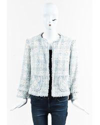 ESCADA | Blue Multicolour Cotton Blend Loop Fringe Jacket | Lyst