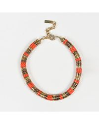 Etro - Gold Tone Metal Red Resin Choker Necklace - Lyst