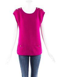 Chanel Cashmere Knit Jumper Vest Purple Sz: M