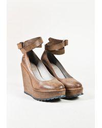 Brunello Cucinelli - Brown Leather Platform Ankle Strap Wedge Pumps - Lyst