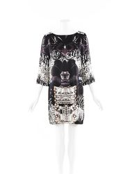 Mary Katrantzou Printed Silk Shift Dress Beige/purple Sz: M - Multicolour