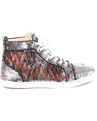 Christian Louboutin Bip Bip High-top Sequin Sneakers Silver/multicolor Sz: 9 - Metallic