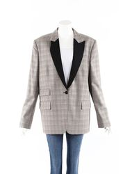 Stella McCartney All Together Now Checked Wool Tuxedo Jacket - Black