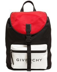 Givenchy Light 3 Backpack In Black, White And Red Nylon Closed By Buckle With Logoed Strap.