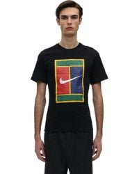 "Nike T-Shirt "" Court"" In Cotone - Nero"