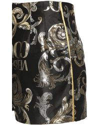 Versace Jeans Couture Logo Printed Metallizes Satin Shorts - Black