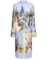 Ferragamo Платье Из Шелка С Принтом - Синий