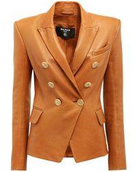 Balmain Двойная Куртка Из Кожи - Многоцветный
