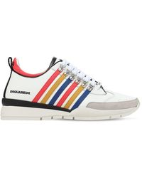 DSquared² 251 Stripes Leather Low Top Trainers - White