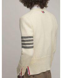 Thom Browne Pullover Aus Shetlandwollstrick - Weiß