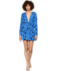 Balenciaga Printed Stretch Velvet Mini Romper - Blue