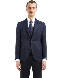Lardini Wool & Linen Bird's Eye Unlined Jacket - Blue