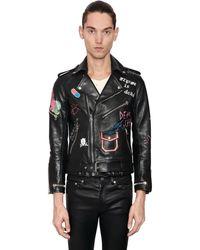 Garçons Infideles Hand-painted Leather Biker Jacket - Black