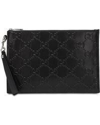 Gucci Signature Monogram Clutch Bag - Black
