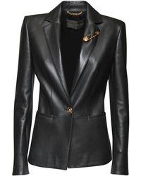 Versace Пиджак Из Кожи - Черный