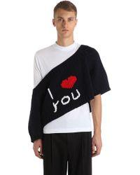 """Raf Simons Oversized Sweater Aus Wollstrick """"i Love You"""" - Schwarz"""