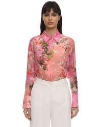 Givenchy Floral Printed Silk Charmeuse Shirt - Pink