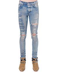 Amiri Jeans In Denim Di Cotone Con Logo - Blu