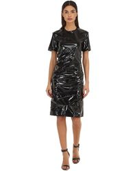 N°21 Draped Silk & Vinyl Mini Dress - Black