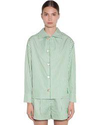 KENZO Gestreiftes Hemd Aus Baumwollpopeline - Grün