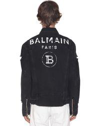 Balmain Destroyed Logo Print Cotton Denim Jacket - Black