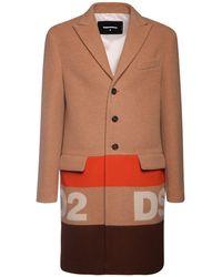 DSquared² Mantel Aus Wolljacquard Mit Logo - Orange