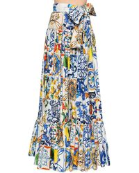 Dolce & Gabbana - Maiolica Printed Poplin Maxi Skirt - Lyst