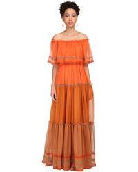 Alberta Ferretti - Robe Longue En Mousseline De Soie - Lyst