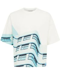 Formy Studio Oversized T-shirt Aus Baumwolle Mit Druck - Blau